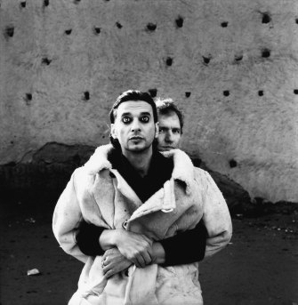 Anton holding onto Dave during the filming of video Barrel of a Gun, Marrakech, 1996.