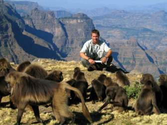 Chadden Hunter in Ethiopia in the early 2000s with gelada baboons.