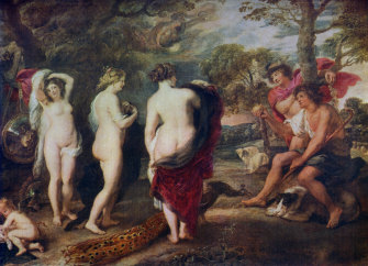 Poussin rated poorly behind Rubens in a 1708 survey: 'The Judgement of Paris' by Rubens, one of 22 versions.