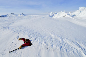 Hunter in Antarctica for the filming of Sir David's Frozen Planet.