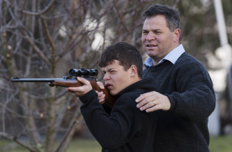Shooters, Fishers and Farmers MP Phil Donato with son Sean on their property near Orange.