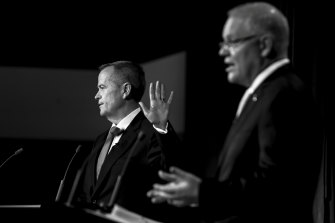 Bill Shorten during a debate with Scott Morrison.