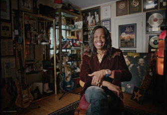 Verdine White of Earth Wind and Fire recorded at the studio in 1980.