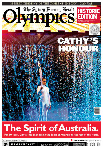 The front page of the Herald celebrating the opening night of the Sydney Olympics.