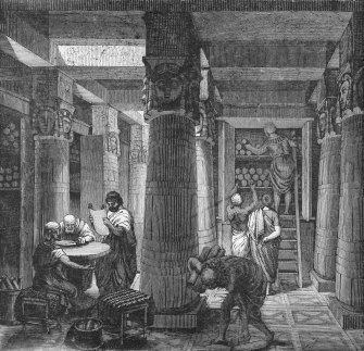 Scholars converse while reading the papyrus scrolls in the Great Library at Alexandria in an undated illustration.