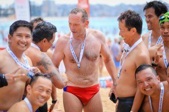 Tony Abbott after finishing The Cole Classic in Manly, a suburb in his electorate.
