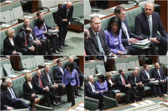Changing seats: As Peter Dutton approaches, Julia Banks moves to sit closer to Malcolm Turnbull during a division last Thursday, the day before Mr Turnbull lost the prime ministership.