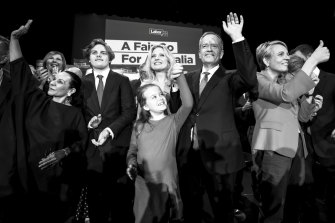 Bill Shorten with his family and colleagues at a campaign rally.
