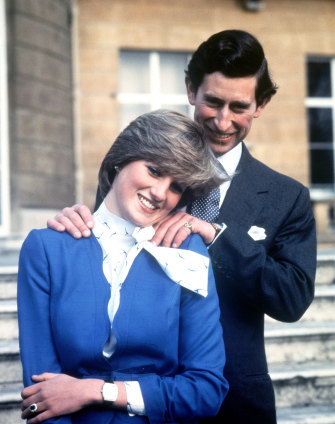 Prince Charles and Princess Diana after the announcement of their engagement on February 24, 1981.