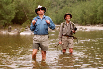 Bob Carr, then premier of NSW, hiking in the Kowmung with wilderness campaigner Milo Dunphy in 1995.