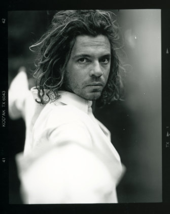 Michael Hutchence fencing, in a scene from Mystify.