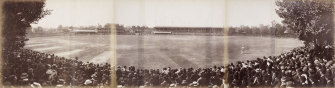 A packed MCG on March 6, 1895, watches the final day of the final Test of the series between Australia and England.
