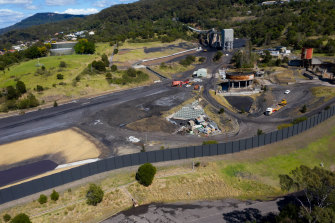An aerial view of the mine head at Wollongong Coal, where preparations to reopen the Russell Vale mine are gathering pace.
