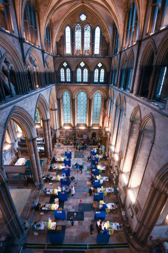 Twelve vaccination booths have been set up in the cathedral's transept.