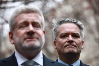 Mathias Cormann, standing behind Mitch Fifield after announcing his resignation, was an instrumental player in Malcolm Turnbull's demise.