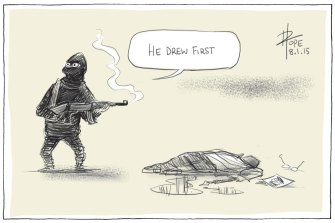 David Pope's Charlie Hebdo cartoon, that resonated around the world on January 8, 2015.