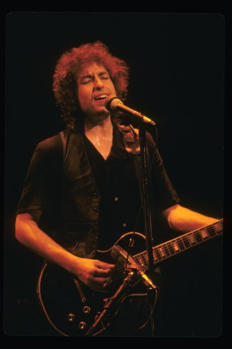 On stage in California in 1980. Turning 80 next week, Dylan's still got that magic.