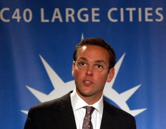 James Murdoch, then CEO of BskyB, addressing a session during the C40 Large Cities Climate Summit in New York in May 2007.