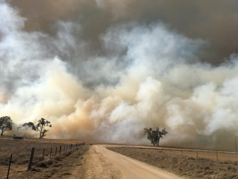 A bushfire burns near Tenterfield in northern NSW.