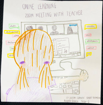 Angela Quach, year 6, from St Joseph's in Belmore depicts her experience of learning from home.