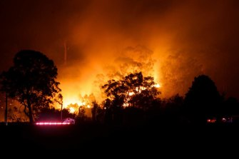 A bushfire near Springwood in the Blue Mountains in October 2013.
