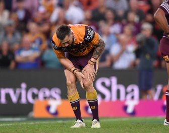 Jack Bird suffers an ACL injury during Magic Round in 2019. He will return to the scene of the crime for next week's Magic Round celebrations in Brisbane for the Dragons' clash with Melbourne.