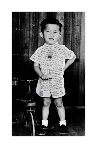 LifeLines3-SelfPortrait2(1947); Childhood photo of William Yang, which he inscribed for his 1999 show 'Sadness'.
