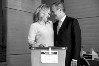 Chloe and Bill Shorten cast their vote on election day.
