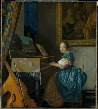 Johannes Vermeer's A Young Woman seated at a Virginal has an aura of mystery.