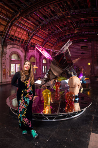 Patricia Piccinini with some of her new works in the Flinders Street ballroom.