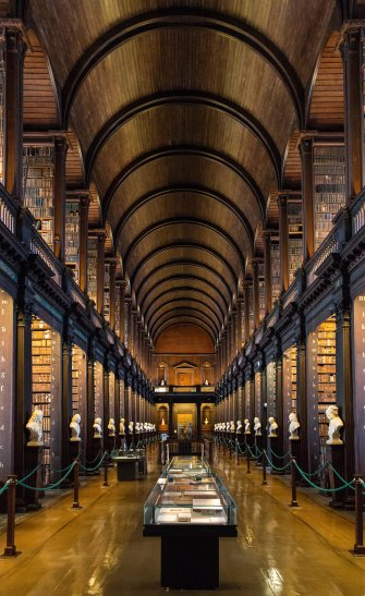 The Long Room in the Old Library building at Trinity College in Dublin i