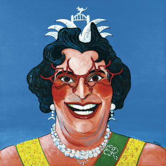 Martin Sharp's Her Majesty Edna the First a 1977 Archibald finalist.
