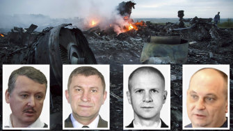 The four people allegedly responsible for shooting down flight MH17. From left: Igor Girkin, Sergey Dubinsky, Oleg Pulatov, Leonid Kharchenko.