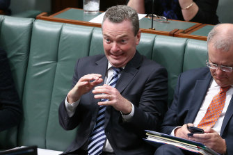 Christopher Pyne feigns being terrified during Question Time.
