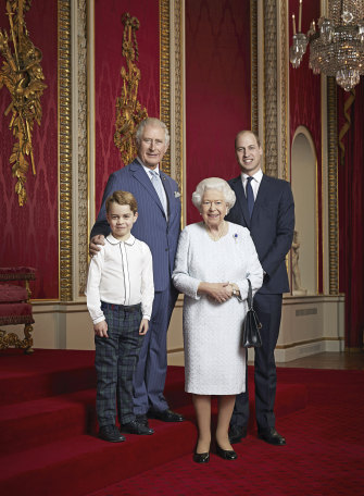 Queen Elizabeth, Prince Charles, Prince William and Prince George pose for a photo to mark the start of the new decade.