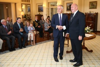 Malcolm Turnbull is sworn in as the 29th prime minister of Australia by Governor-General Sir Peter Cosgrove on September 15, 2015.