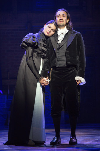 Lin-Manuel Miranda as Alexander Hamilton and Phillipa Soo as his wife, Eliza, in the original 2015 Broadway production.