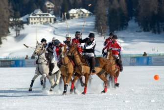 A clash between Germany and Switzerland at the 2011 Snow Polo World Cup.