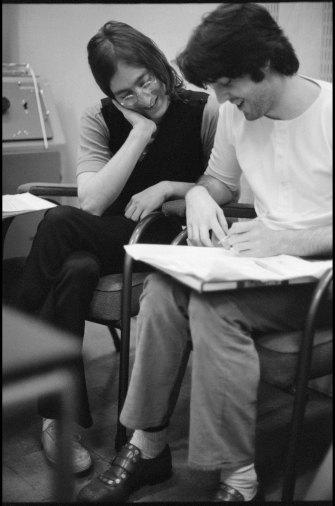 John and Paul Recording. Abbey Road Studios, London, 1968.