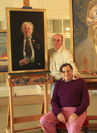 Tim Storrier with Barry Humphries and the portrait of Sir Les Patterson entered into the 2014 Archibald Prize.