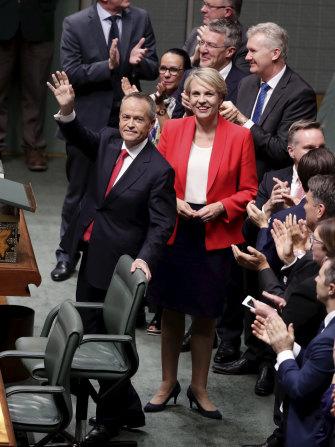 Opposition Leader Bill Shorten and Deputy Opposition Leader Tanya Plibersek after the budget reply speech.