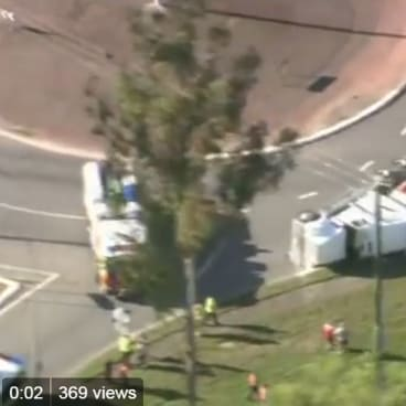 A truck carrying waste from interstate rolled in Acacia Ridge this month, spilling rubbish across the road.