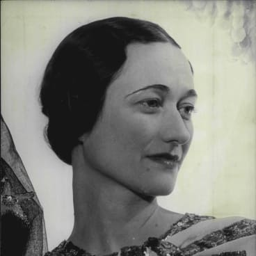 A historic portrait of the Duchess of Windsor.