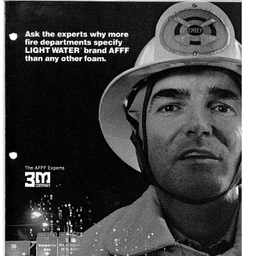 A 3M advertisement for fire-fighting foam.