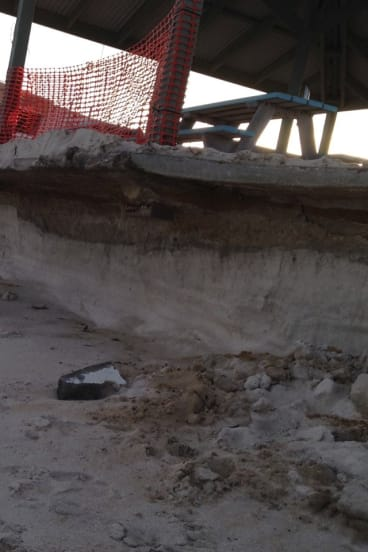 Erosion at the Grace Darling Park site.