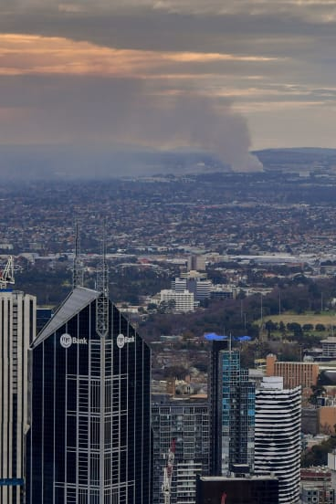 The Coolaroo recyclable materials fire as seen from the Eureka Tower.