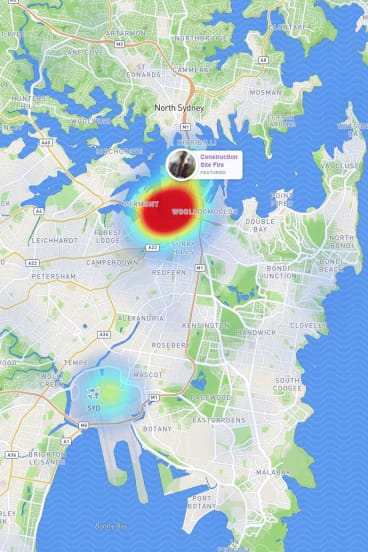 A screen shot of the Snap Map taken on Tuesday shows most action is around the CBD and airport.
