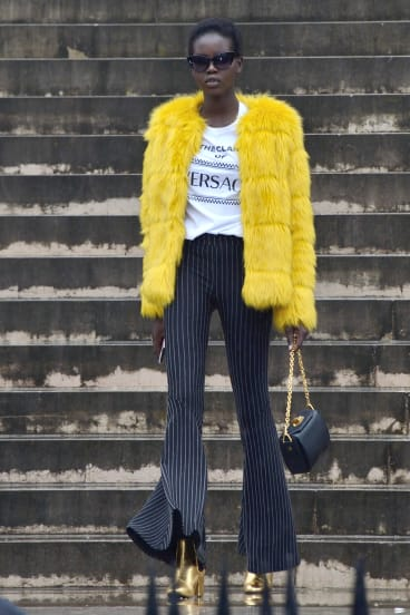 Adut Akech Bior attending the Givenchy show at Paris Fashion Week.