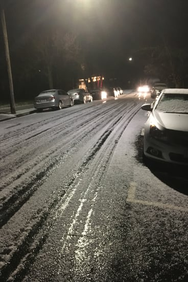 Hail on Victoria Street, Macedon on Thursday evening.