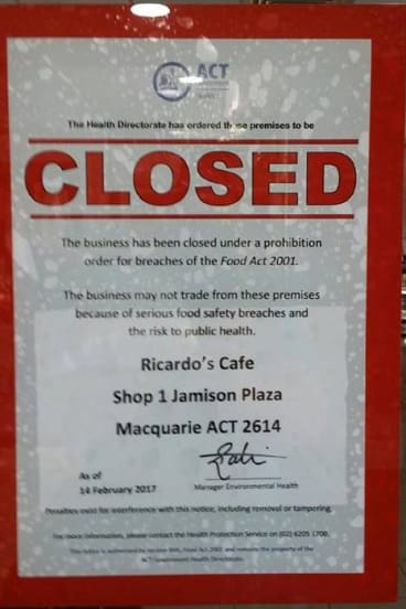 The sign showing Ricardo's Cafe in Jamison Plaza had been closed.